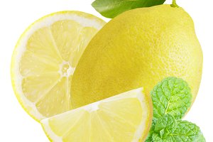 One lemon with slices and mint