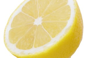 Isolated half lemon on white