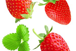 collection of strawberry isolated