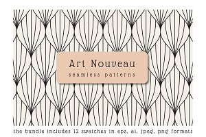 Art Nouveau Seamless Patterns Set