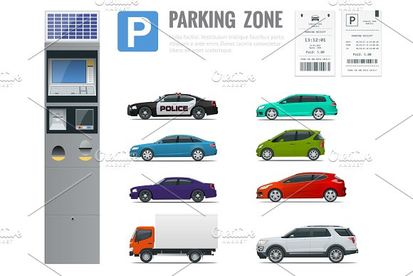 Set Of Parking Payment Machine Parking Receipt And Cars View From Side