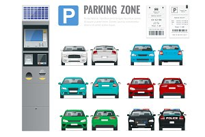 Set of parking payment machine, parking receipt and cars front and rear view