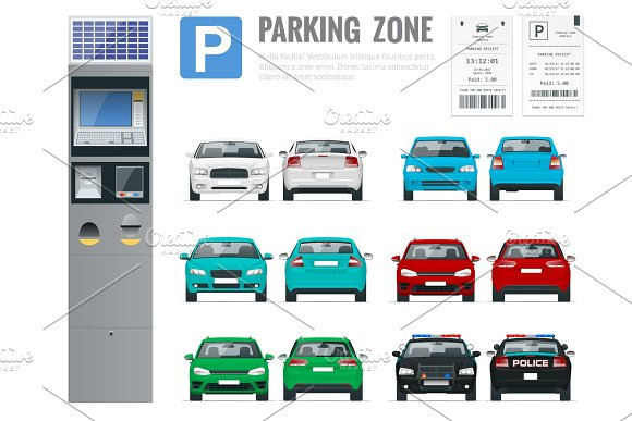 Set Of Parking Payment Machine Parking Receipt And Cars Front And Rear View