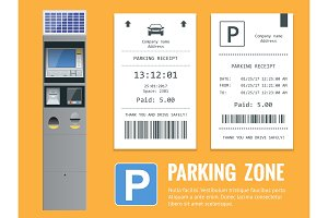 Realistic modern terminal for paying for car parking and parking receipt. Vector illustration