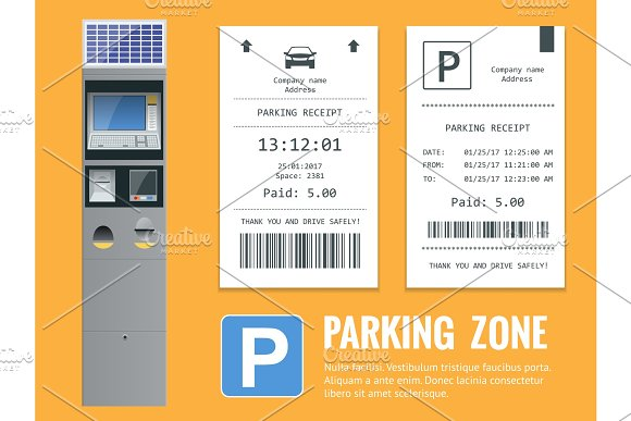 Realistic Modern Terminal For Paying For Car Parking And Parking Receipt Vector Illustration