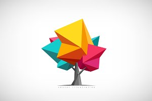 Vector Illustration. Low poly tree