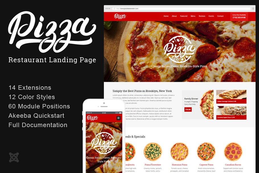 Pizza Restaurant Joomla Landing Page ~ Landing Page Templates