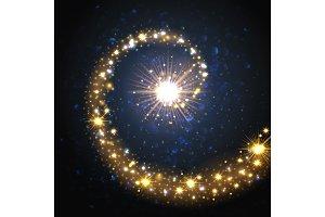 Golden lights on boken background