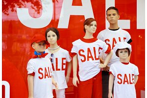 Mannequin Family In A Shop Window