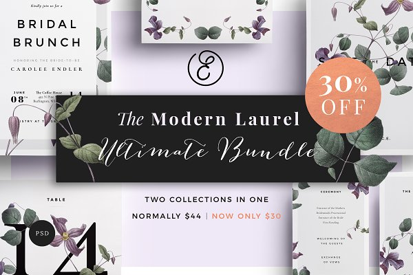 Invitation Templates: Ephemeral Paper Studio - Modern Laurel Ultimate Bundle 30%Off