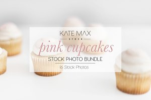 Pink Cupcakes Stock Photo Bundle