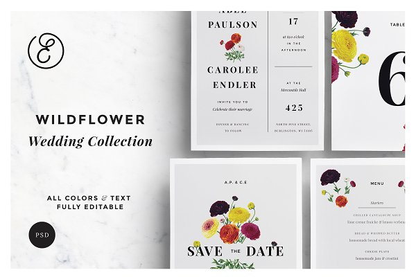 Invitation Templates: Ephemeral Paper Studio - Wildflower Wedding Collection