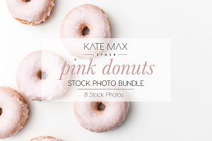 Pink Donuts Stock Photo Bundle