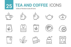 Tea and Coffee Line Icons