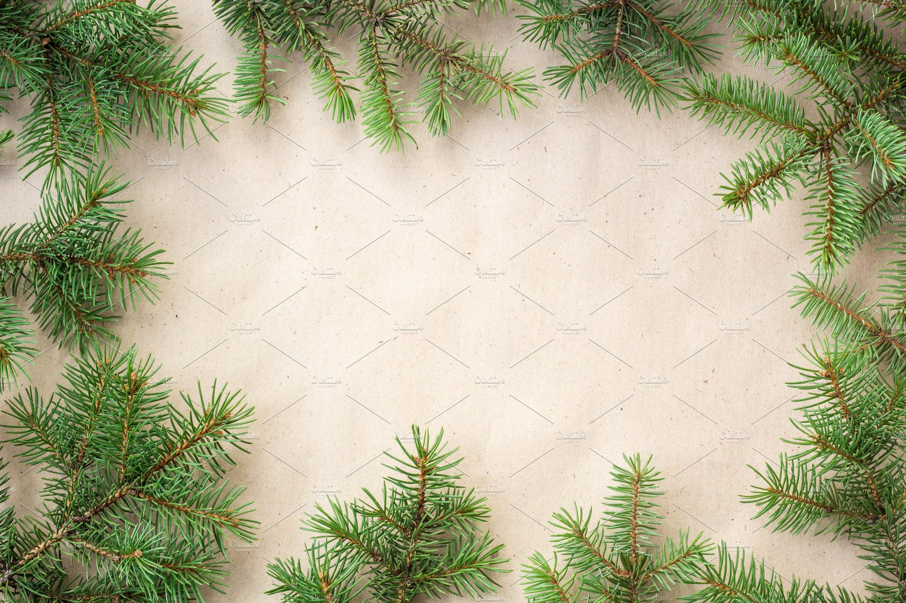 Fir Branches Border On Light Rustic Background Good For Christmas Backdrop