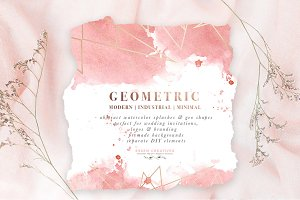Rose Gold Geometric Watercolor