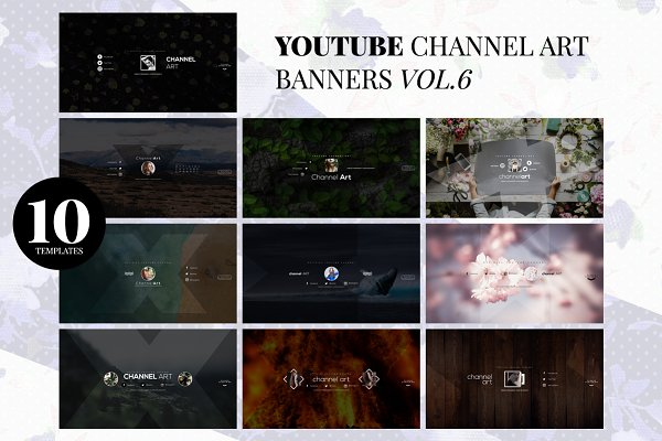 YouTube Templates: RussGFX - 10 Youtube Channel Art Banners vol.6