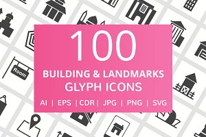 100 Building & Landmarks Glyph Icons