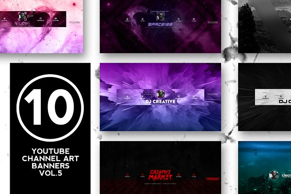 YouTube Templates: RussGFX - 10 Youtube Channel Art Banners vol.5