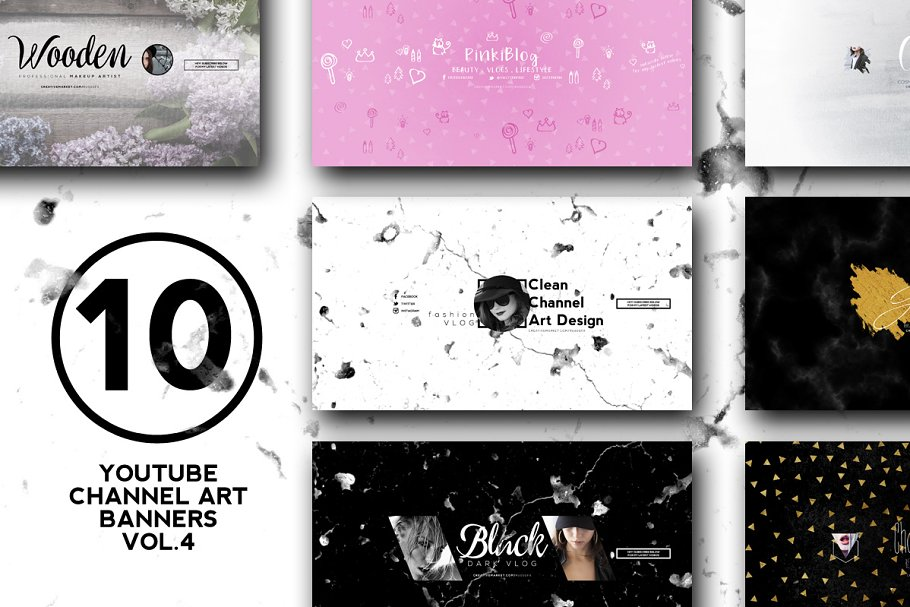 10 Youtube Channel Art Banners Vol4 Youtube Templates Creative