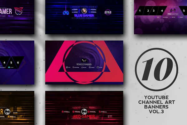 YouTube Templates: RussGFX - 10 Youtube Channel Art Banners vol.3
