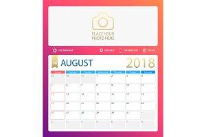 AUGUST 2018, illustration vector calendar or desk planner, weeks start on Sunday
