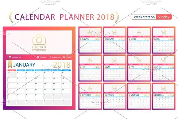 English Calendar Planner For Year 2018 Week Start Sunday Set Of 12