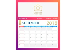 SEPTEMBER 2018, illustration vector calendar or desk planner, weeks start on Sunday