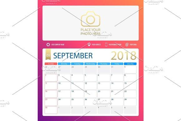 SEPTEMBER 2018 Illustration Vector Calendar Or Desk Planner Weeks Start On Sunday