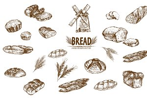 Bundle of 15 bread vectors set 7