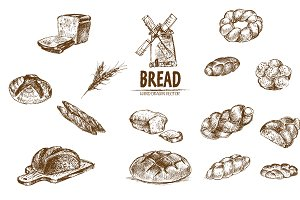 Bundle of 15 bread vectors set 8
