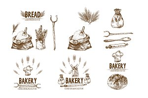 Bundle of 10 bread vectors set 10
