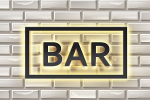 Illuminated bar signboard