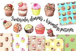 Watercolor Clip Art – Cupcake