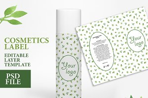 Cosmetics label design PSD file
