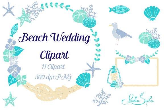 Border For Wedding Invitation Clip Art: Beach Wedding Clipart