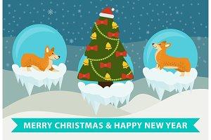 Merry Christmas and Happy New Year Corgi Congrats