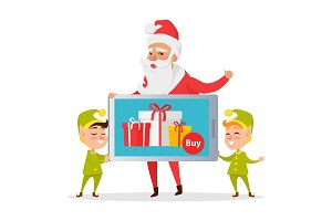 Christmas Sale Greeting Card with Santa and Elves