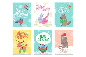 Happy Holidays and Merry Christmas Set of Posters