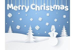 Merry Christmas Paper Banner Vector Illustration