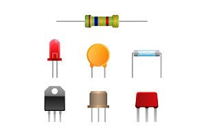 Diode types set, two-terminal electronic components vector ilustration