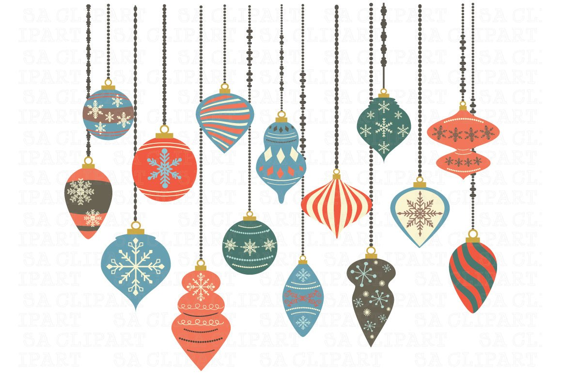 Christmas Ornaments ClipArt Illustrations Creative Market