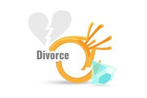 Divorce concept illustration with broken engagement ring