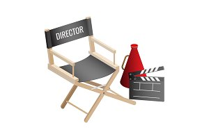 Director empty chair, cinema clapper and loudspeaker filmmaker attributes