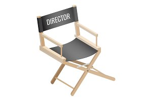 Director empty chair isolated on white background. Workplace of filmmaker