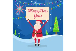 Happy New Year Banner in Santas Hand in Forest