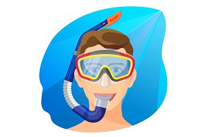 Man in diving mask underwater vector. Person in diving equipment