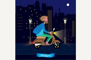 At night on a scooter