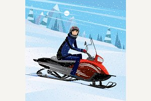 Man riding on a snowmobile