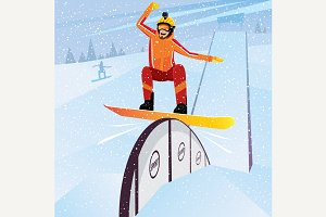 Extreme moves down on snowboard